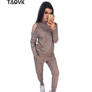 Image 2 - TAOVK יהלומי נשים של סריגת חליפות למעלה + סרוג מכנסיים שתי חתיכה להגדיר נשי חורף תחפושות מסלול נשים חליפה