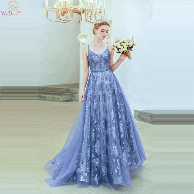 Blue Sequined Dresses Party 2019 Prom A Line Spaghetti Strap Sweetheart Lace Up Back Sleeveless Evening Gowns Abendkleider Stock
