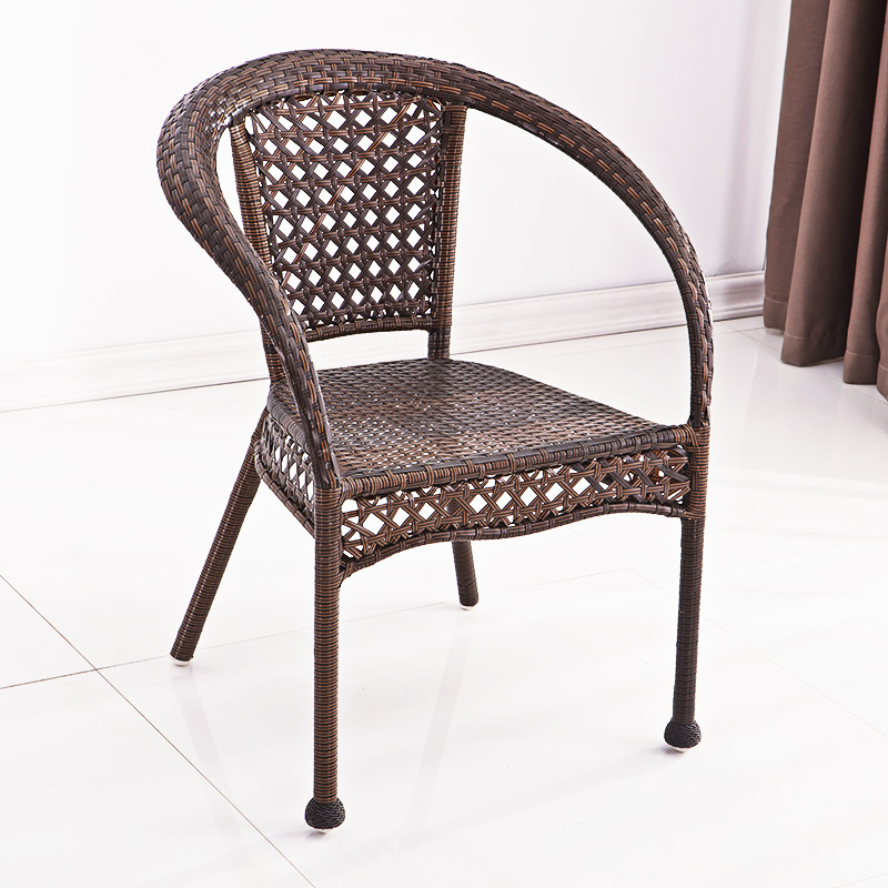 Rattan Woven Single Small Rattan Chair Lazy Leisure Chair With Armrest Balcony Tent Chair Backrest Home Balcony Three-piece Set