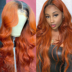 """Ombre Orange Color Wavy Lace Front Human Hair Wig 1B Orange Body Wave 180% Remy Hair 8-26"""" Inch PrePlucked T Part Lace Front Wig"""
