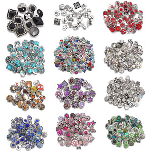 10pcs/lot New 12MM Snap Jewelry Rhinestone Mini Metal Snap Buttons fit 12mm Snap Bracelet Bangle Earrings Necklaces