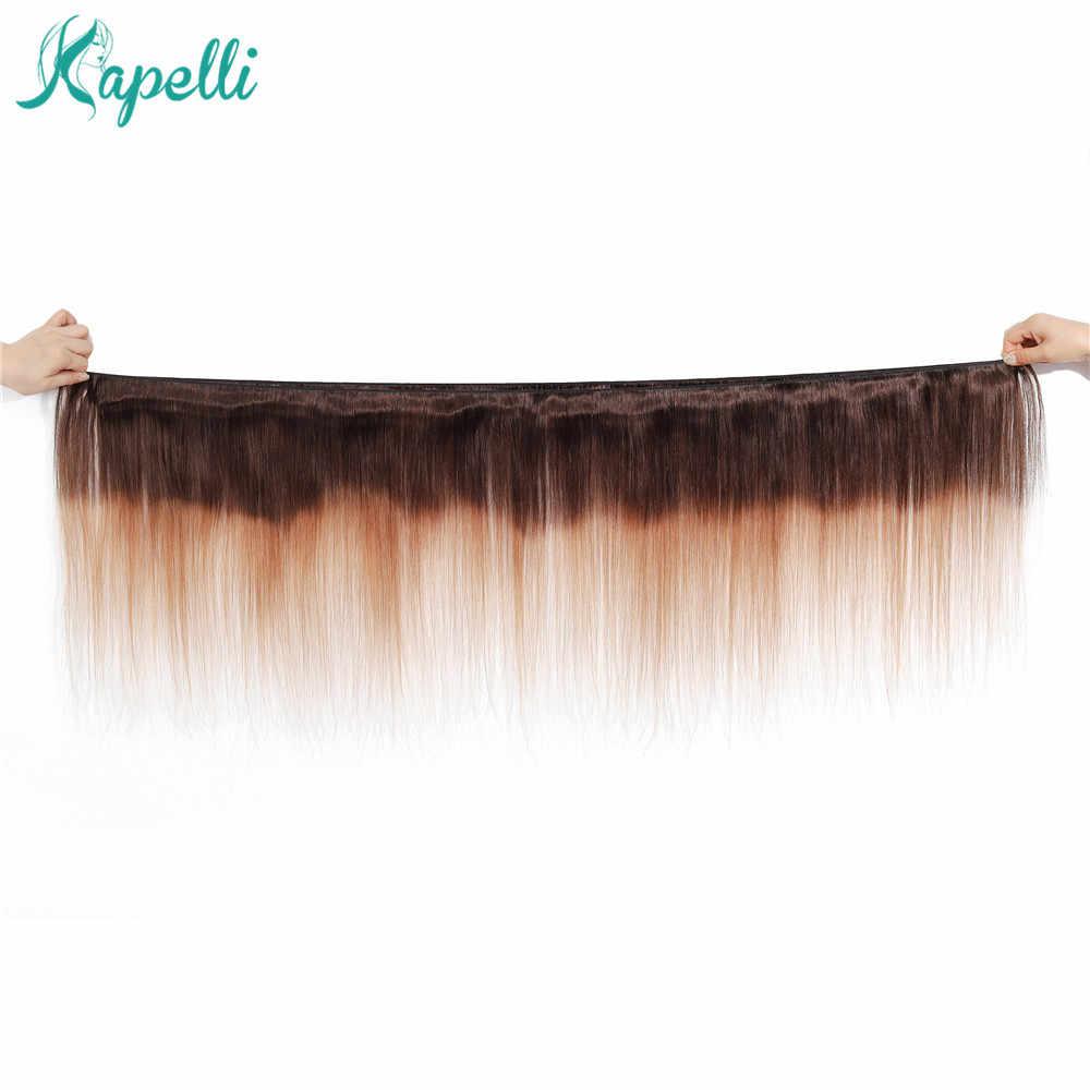 Ombre Bundel dengan Frontal Brasil Rambut Lurus 3 Pirang Bundel dengan Penutupan 13X4 Manusia Bundel Rambut- remy Rambut Menenun
