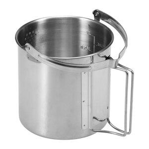 Image 3 - Pot de sac à dos de Camping extérieur portatif de bouilloire de cuisson dacier inoxydable de 1L avec la poignée pliable