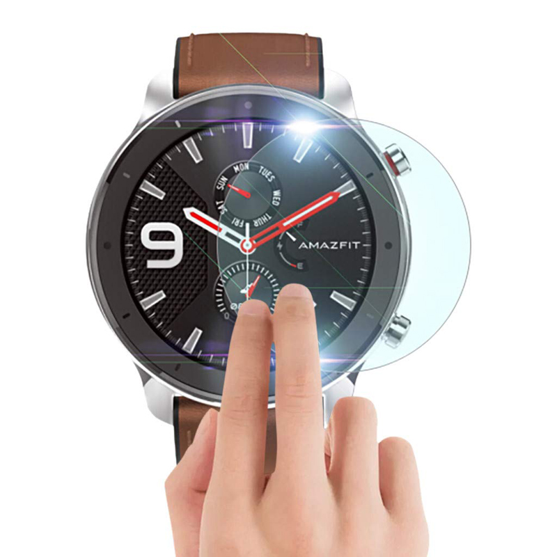 2 Pack Tempered Glass Film For AMAZFIT GTR Smart Watch 42mm/47mm Explosion-Proof Screen Protection Anti-Scratch HD Cover Screen