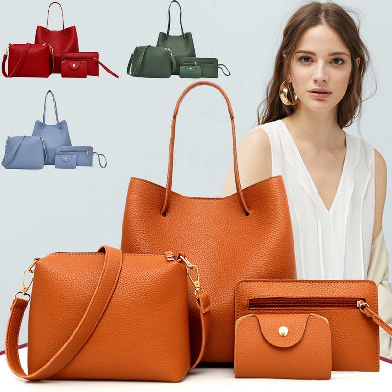 HEFLASHOR High Quality 4 Pcs / 1 Set Women Lady PU Leather Handbag Polyester Shoulder Bags Tote Purse Messenger Satchel