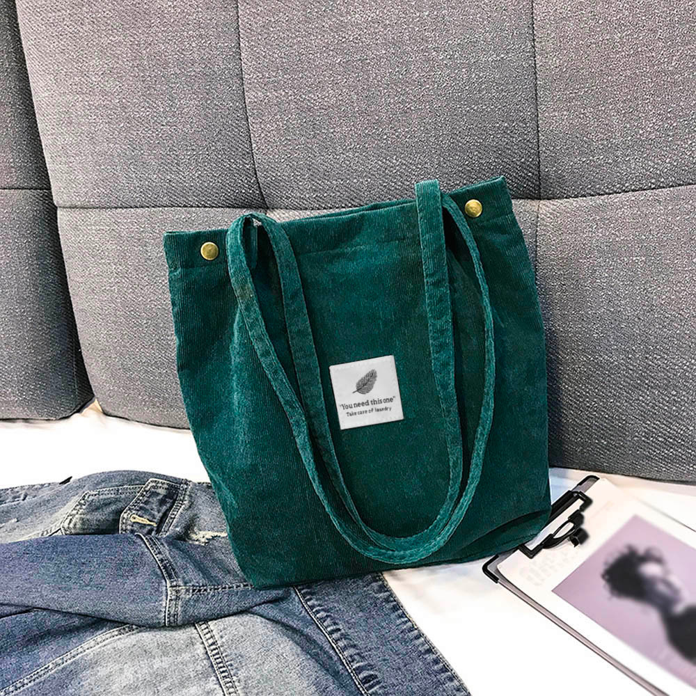 2019 New Shoulder Bag Female Women Corduroy Shopper Tote Ladies Casual Lady's Bag Foldable Reusable Shopping Winter Sac Femme#25