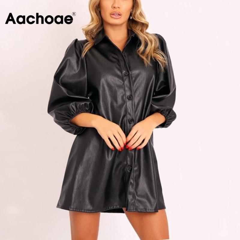 Aachoae Women Streetwear Mini Pu Leather Dress Lantern Sleeve Chic Black Dress Turn Down Collar Loose A Line Dress Sundress