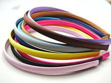 50 Mixed Color Plastic Headband Covered Satin Hair Band 9mm for DIY Craft(China)