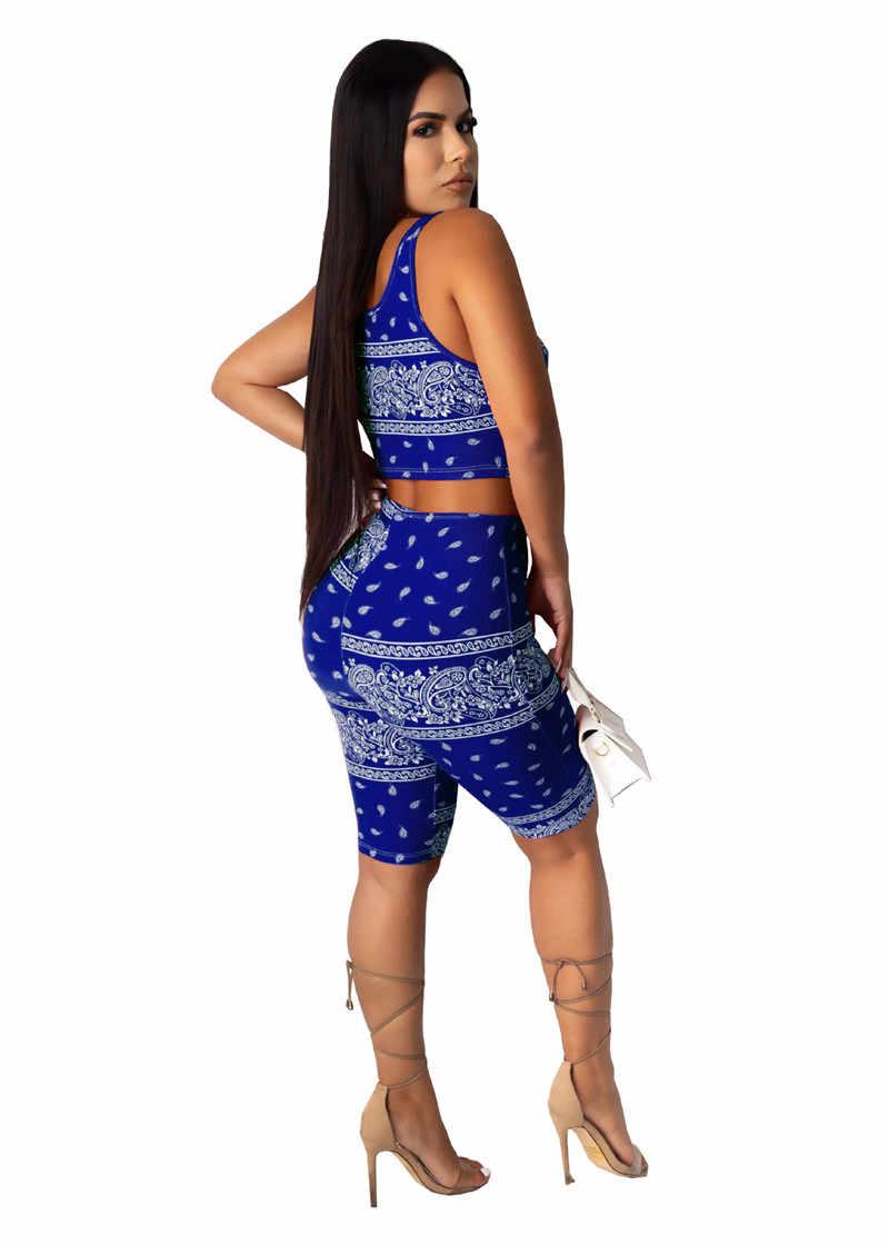 Adogirl 패션 인쇄 두 조각 세트 자른 탱크 조끼 탑 스키니 반바지 여성 Tracksuit 2020 여름 패션 캐주얼 스포티 한 정장