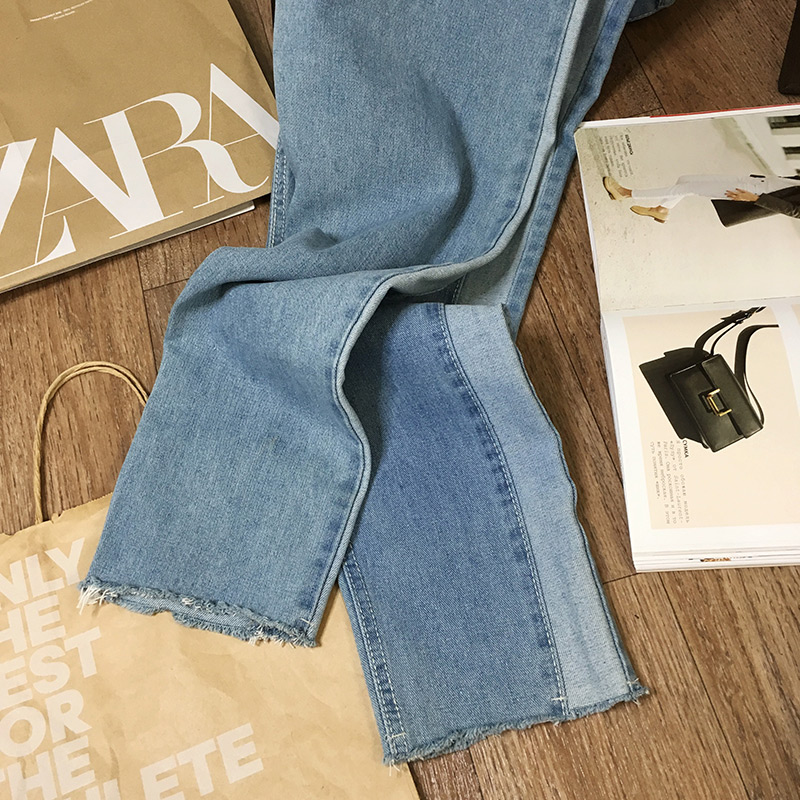 BIVIGAOS 19 New Spring Autumn Womens Cropped Jeans Korean Side Stitching Washed Denim Straight Pants Boyfriend Jeans For Women 20