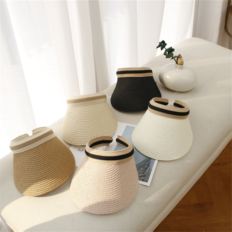 2021 New Women's Sun Hats Handmade Straw Visor Caps Summer Hat Empty Top Beach Hat Fashion Woman Girls Anti-UV Outdoor Casual