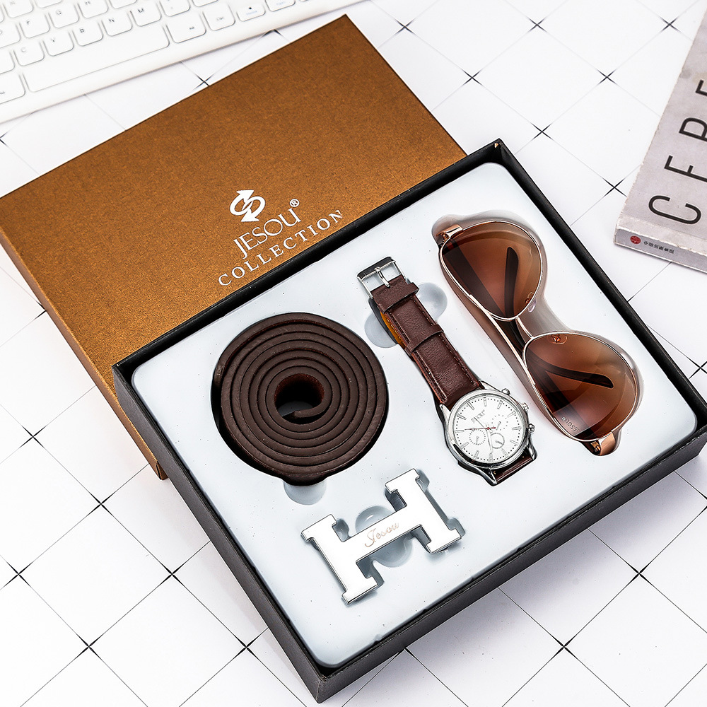 3pcs/set boutique gift set belt+quartz watch+glasses gifts are a good choice Men Watch Fashion Casual Watches Leather