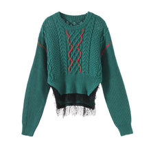 Women Twist Knit Sweater Cropped Pullovers 2019 Winter O-neck Lace Patchwork Short Sweater Loose Knitwear Sueter Mujer P-199(China)