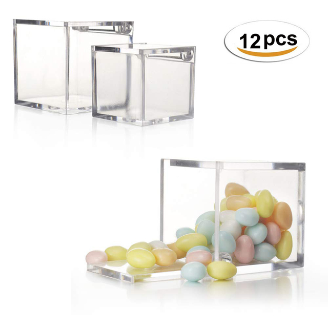 12pcs 아크릴 사탕 상자 명확한 초콜렛 음식 급료 플라스틱 결혼식 당 호의 포장 상자 생과자 콘테이너 보석 저장 상자