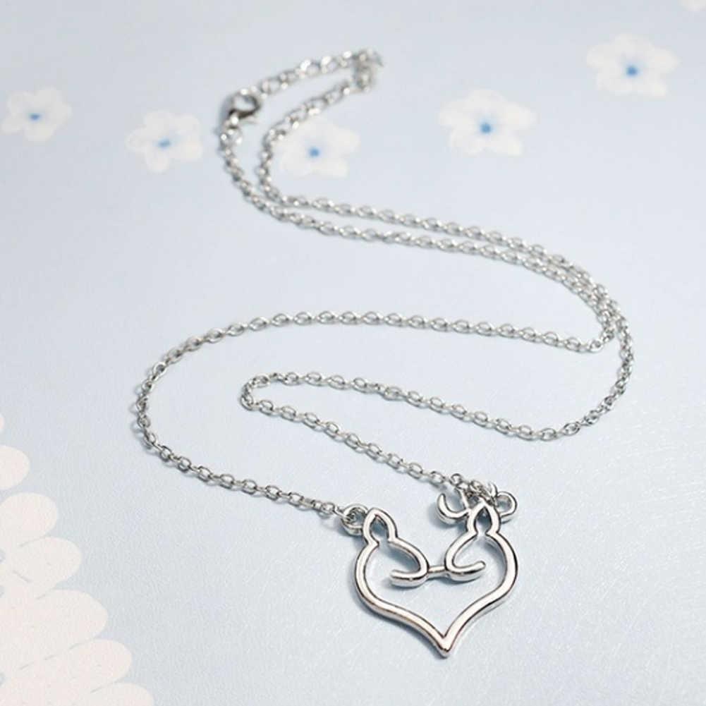Collar de Navidad para mujer, Collar de cadena con forma de corazón de amor, Collar con colgante de alce para adorno navideño, accesorios para mujer
