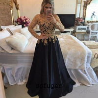 Black Satin Long Sleeves Appliques Evening Mother of the Bride Dresses Plus Size Weddings Party Vestidos Mae Da Noiva