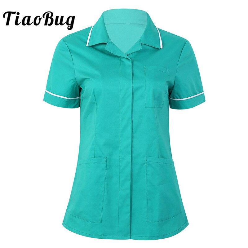 Women Healthcare Tunic Turn-down Collar Short Sleeve Button Down Hospitality Nurse Cares Therapist Dentist Workwear Uniform Tops