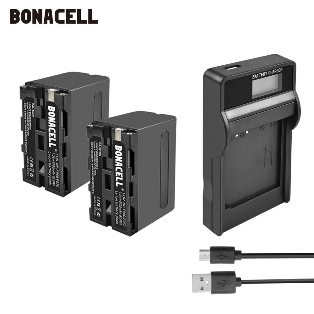 Bonacell 7.2V 8700mAh NP-F960 NP-F970 NP F960 F970 F950 Battery+LCD Charger For Sony PLM-100 CCD-TRV35 MVC-FD91 MC1500C L10