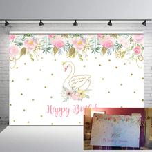 NeoBack الأبيض سوان عيد ميلاد سعيد خلفيات للتصوير الفوتوغرافي الوردي المائية زهرة صور خلفية الذهب النقاط الاطفال عيد ميلاد خلفية
