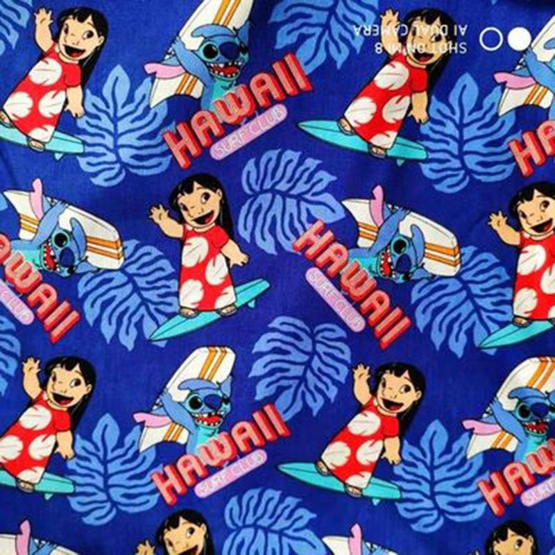 105cm de largura lilo e ponto hawaii surf club tecido de algodão azul para a menina roupas hometextile mochilas capa de almofada DIY-BK959