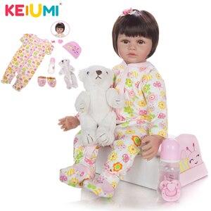 KEIUMI Fashion Reborn Baby Doll 60 cm Silicone Soft Stuffed Doll Baby Reborn Boneca Menina Lifelike Bebe House Play Toy Kid Gift(China)