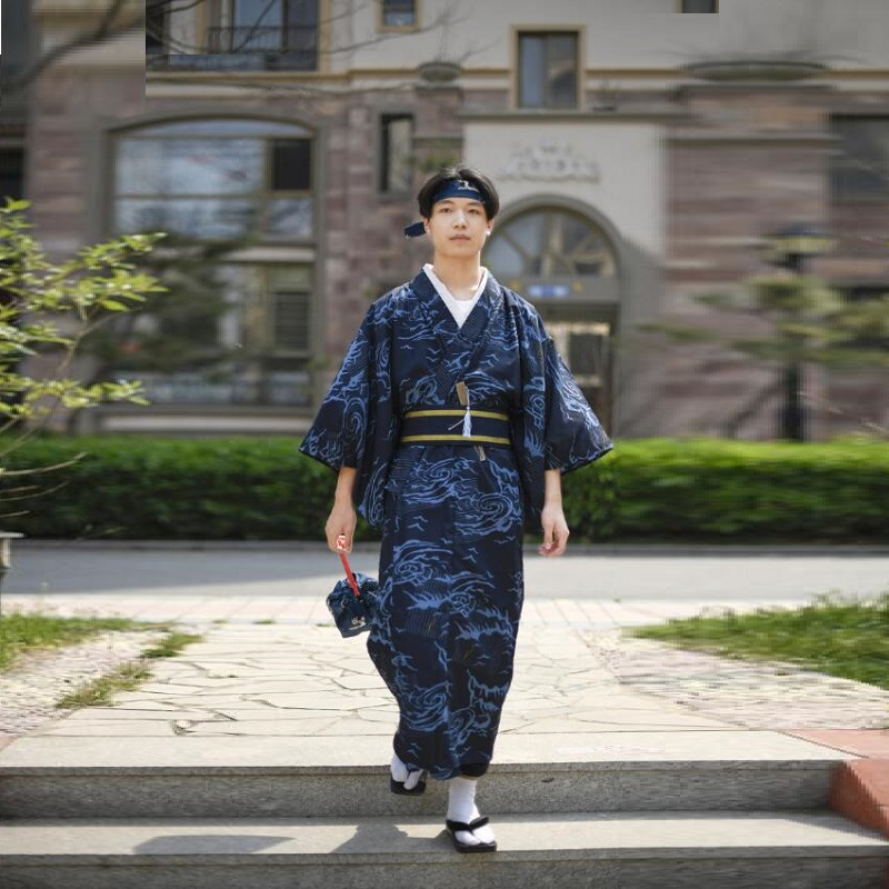 Costume Japanese Kimono Man Samurai Cosplay Karate Kimono Japones Yukata Haori Men Traditional Japanese Mens Clothing FF2605