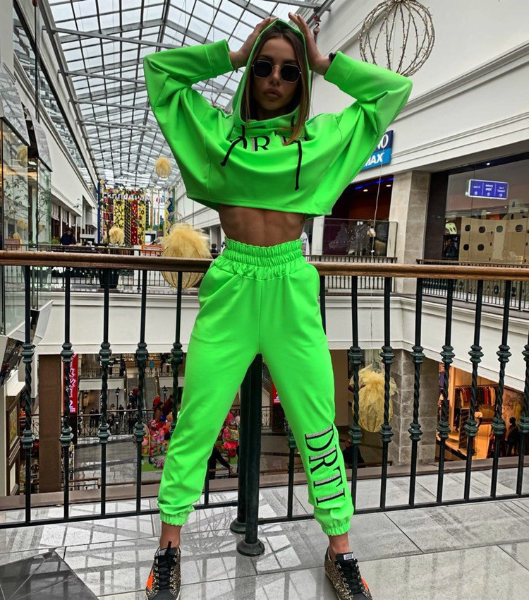 H5f26cd1d8511440ebf3edf622aad77a4o - OMSJ Autumn Neon Green Two Piece Set Women Lace Up Outfits Solid Orange Casual Suit Female Clothing Crop Top and Pants Tracksuit