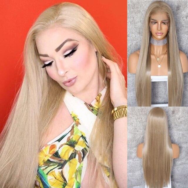 BeautyTown שנהב בלונד 13x6 משלוח חלק Futura ללא סבך עמיד בחום שיער יומי חתונה שכבה סינטטי תחרה מול פאה