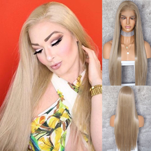 BeautyTown Ivory Blonde 13x6 Free Part Futura No Tangle Heat Resistant Hair Daily Wedding Makeup Layer Synthetic Lace Front Wig