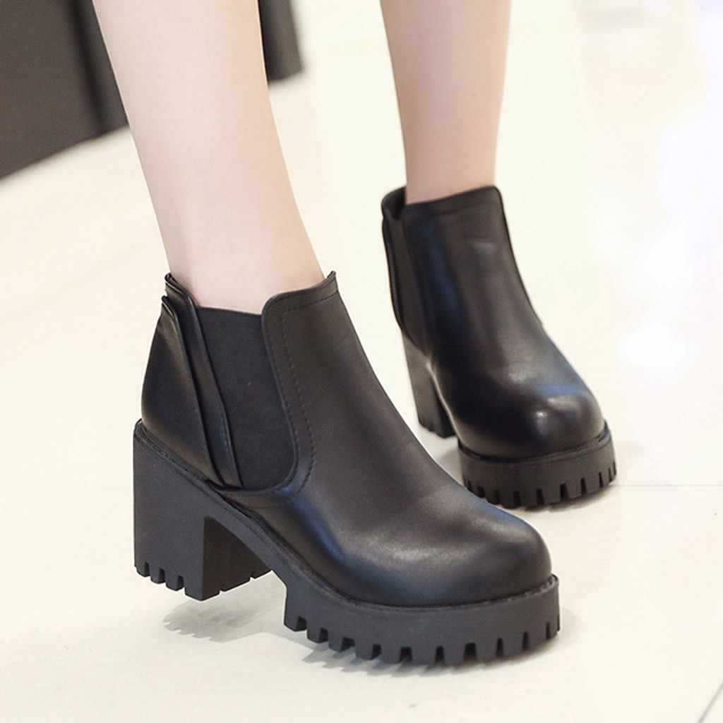 Combat Ankle Boots for Women Casual Autumn Winter Solid Color Round Toe Studded Low Block Ladies Shoes Botines Mujer 2019