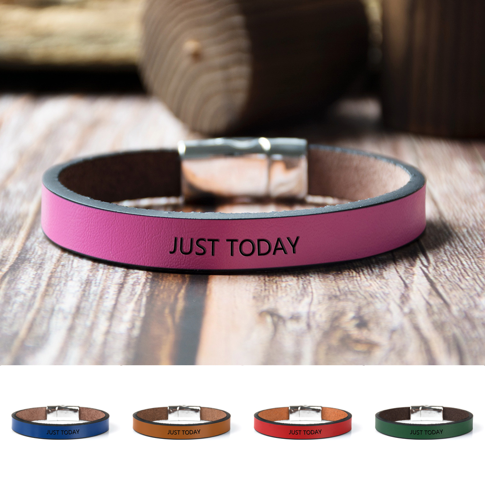 JUST TODAY Inspirational Bracelets Message Engraved Cuff Magnetic Buckle Leather Bracelets Gifts for Her/Him