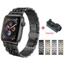For Apple watch Metal strap watchband for iWatch Series 4 44mm 42mm 40mm 38mm Band Stainless Steel Links Bracelet Send free tool