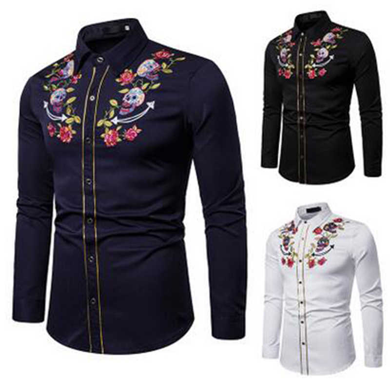 Shirt Floral Western Dancing Skull Dress Men Cowboy Embroidered Rockabilly