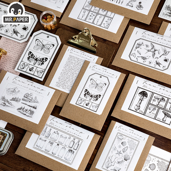 Mr.Paper 12 Designs Specimens Long Vintage Painting Inkpad Handmade DIY Craft Oil Based Inkpad Rubber Stamps Scrapbookin