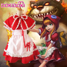 DokiDoki League of Legends Game Cosplay Annie Hastur Little Red Riding Hood Girls Cute Dress Costume Halloween