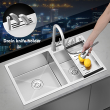 SUS304 Stainless Steel Large Kitchen Sink With Knife Holder Handmade Tank Double Bowl Basin Sink For Kitchen Fixture Accessories