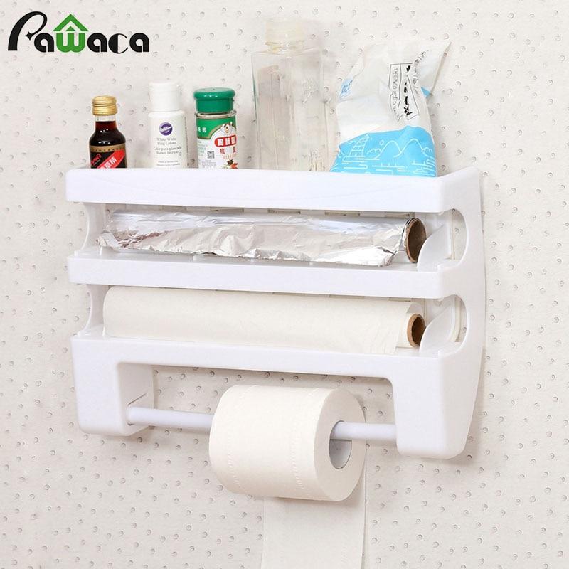 Kitchen Multi-function Plastic Belt Cutter Wrap Storage Shelf Wrap Film Cutter Triple Roll Paper Dispenser Tin Film Towel Holde