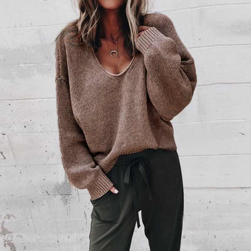 여성 솔리드 오 넥 니트 스웨터 2020 가을 겨울 패션 여성 풀오버 스웨터 숙녀 느슨한 니트 Dropship