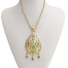 Tamanho grande ouro personalizado colar gota de água colar pendente feminino marrocos estilo verde crescendo strass jóias pendente