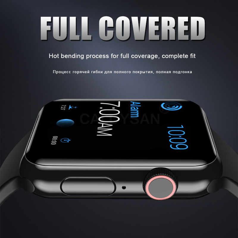 Protector de pantalla de cristal templado con borde curvo 20D para Iwatch 1 2 3 4 para Apple watch 38 40 42 44 mm película protectora