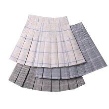 Women Pleated Skirts Casual High Waist A-Line Female Plaid M