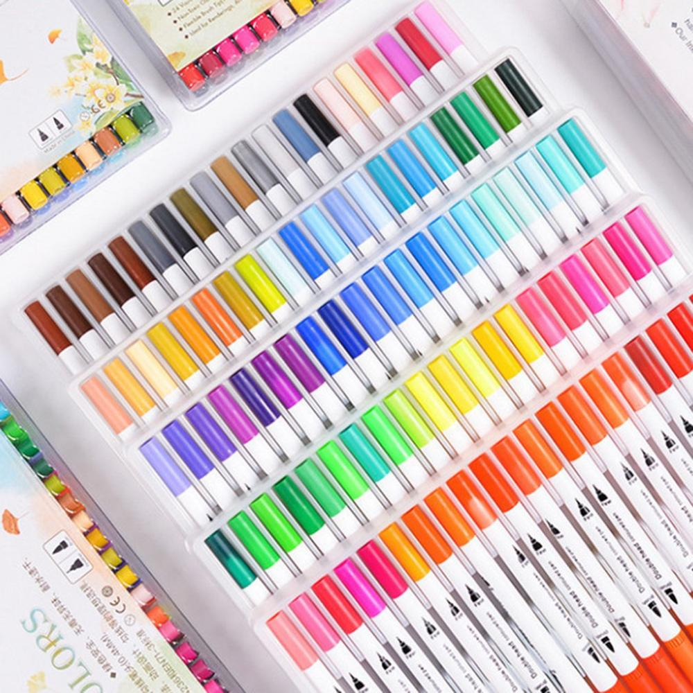 100pcs Colorful double head sketch markers fine-writing watercolor pen art marker double tip whiteboard marker