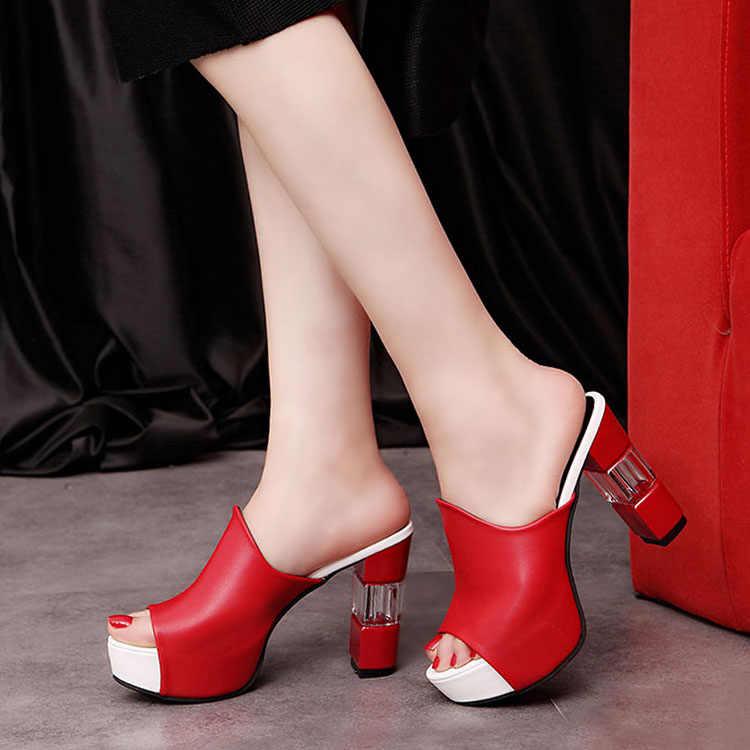 Pantofole con tacco alto in cristallo sandali da donna décolleté con plateau Sexy scarpe da donna sandali con pantofola da donna sandali estivi da donna 42