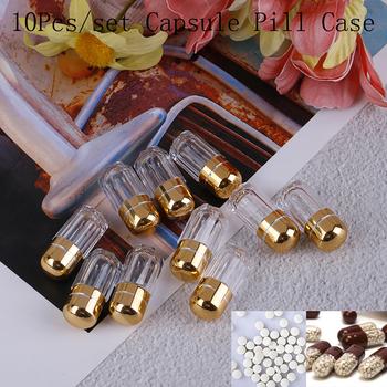 10PC pudełko na pigułki kapsułki puste kapsułki żelatynowe przezroczysty żelowa czapki wodoodporne Mini plastikowe pudełko pojemnik do przechowywania butelek złoty futerał na pigułki tanie i dobre opinie Jiauting