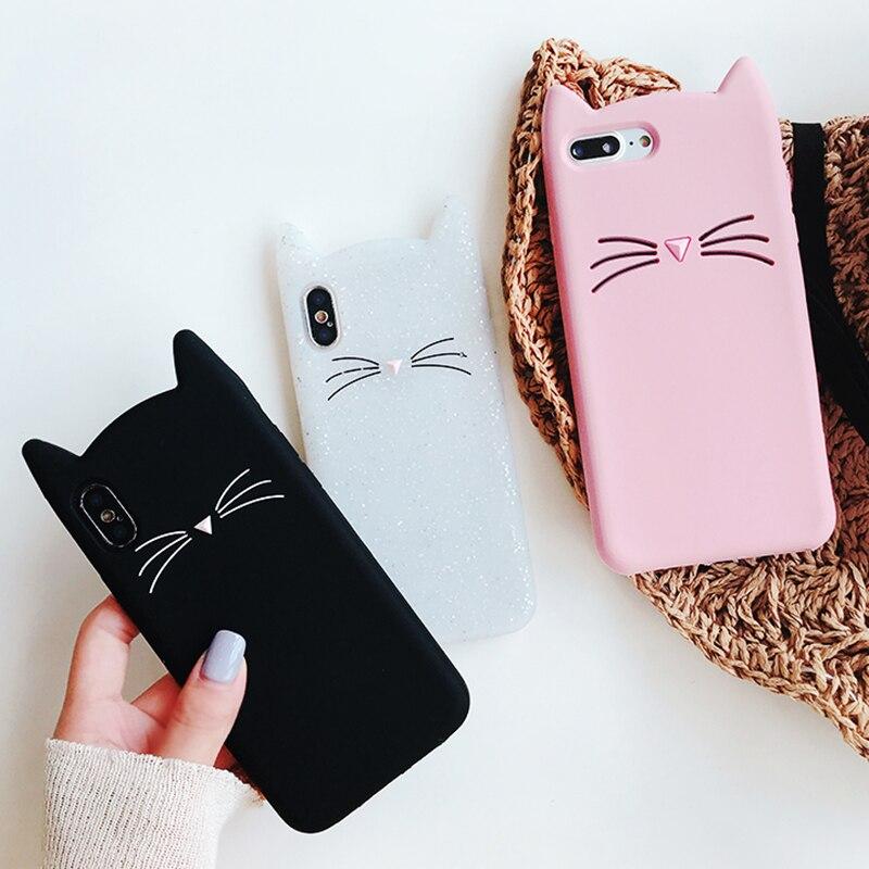 Cute 3D Cartoon Cat Case For Huawei P Smart P40 P30 P20 P10 P9 Lite Plus Pro 2019 2017 Selfie GR3 GR5 Ears Soft Phone Cover