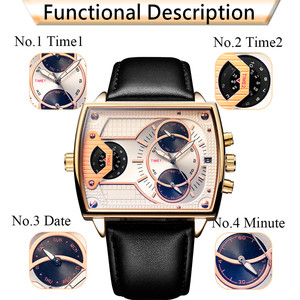 Image 5 - 6.11 Leather Mens Fashion Military watch Square Quartz Waterproof Sports Wrist Watches Genuine Leather Blue Casual Reloj Hombre