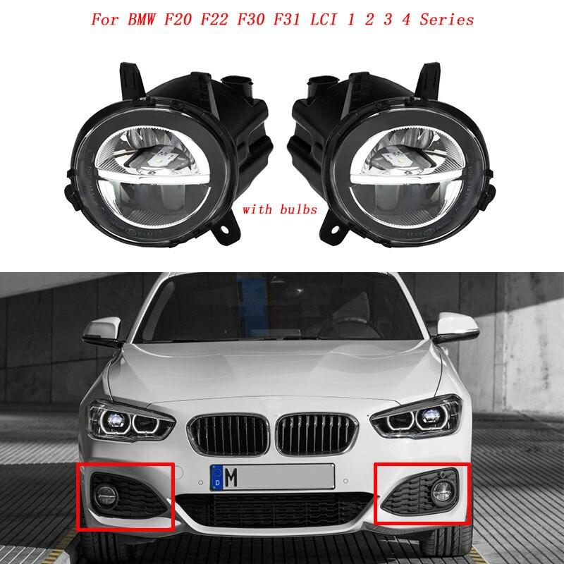MagicKit Auto Anteriore LED Della Luce di Nebbia Della Lampada Della Nebbia DRL di Guida Lampada Per BMW F20 F22 F30 F35 LCI Con LED bulds 63177315559 63177315560