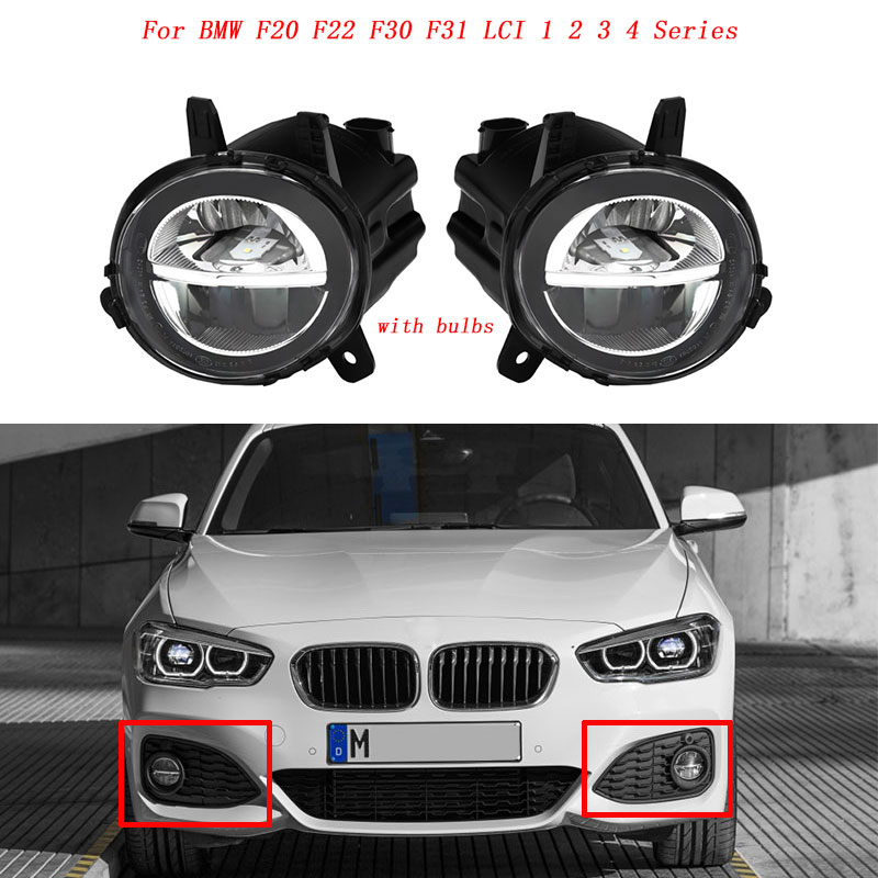 MagicKit Auto Front LED Mistlamp Fog Lamp DRL Rijden Lamp Voor BMW F20 F22 F30 F35 LCI Met LED bulds 63177315559 63177315560