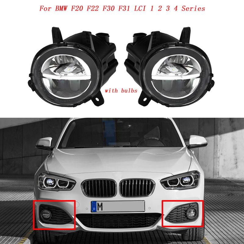 MagicKit voiture avant LED antibrouillard feu de brouillard DRL lampe de conduite pour BMW F20 F22 F30 F35 LCI avec LED Bulds 63177315559 63177315560