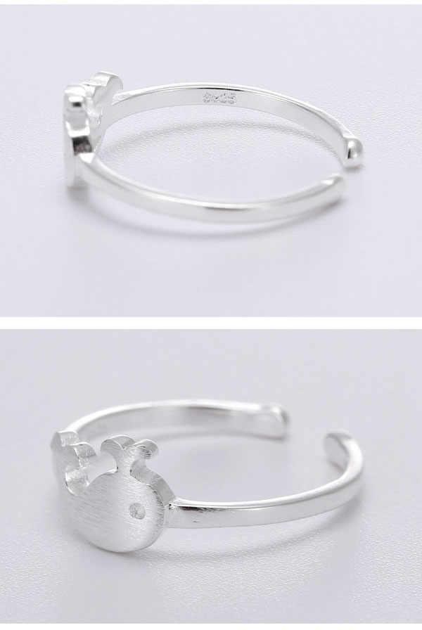 925 Sterling Silver WHALE เปิดแหวนแฟชั่นป้องกันโรคภูมิแพ้เงินสเตอร์ลิง-เครื่องประดับ